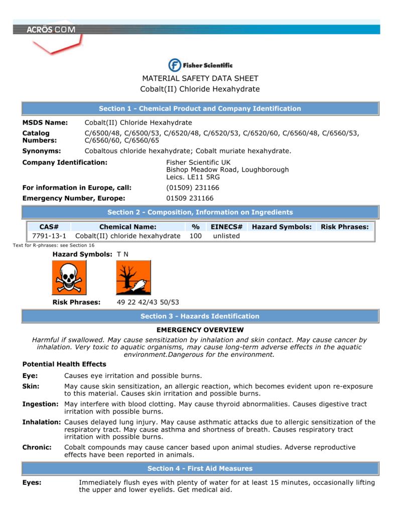 Material safety data sheet cobaltii chloride hexahydrate buycottarizona