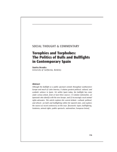 The Politics of Bulls and Bullfights in Contemporary Spain