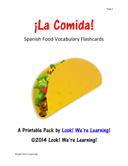 Spanish Food Vocabulary Flashcards