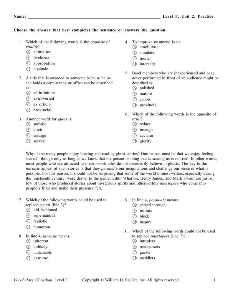 level f  unit 2  practice vocabulary workshop