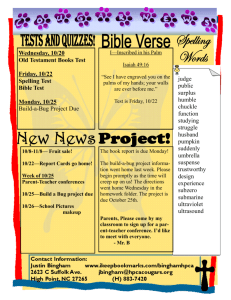 Wednesday, 10/20 Old Testament Books Test Friday, 10/22 Spelling