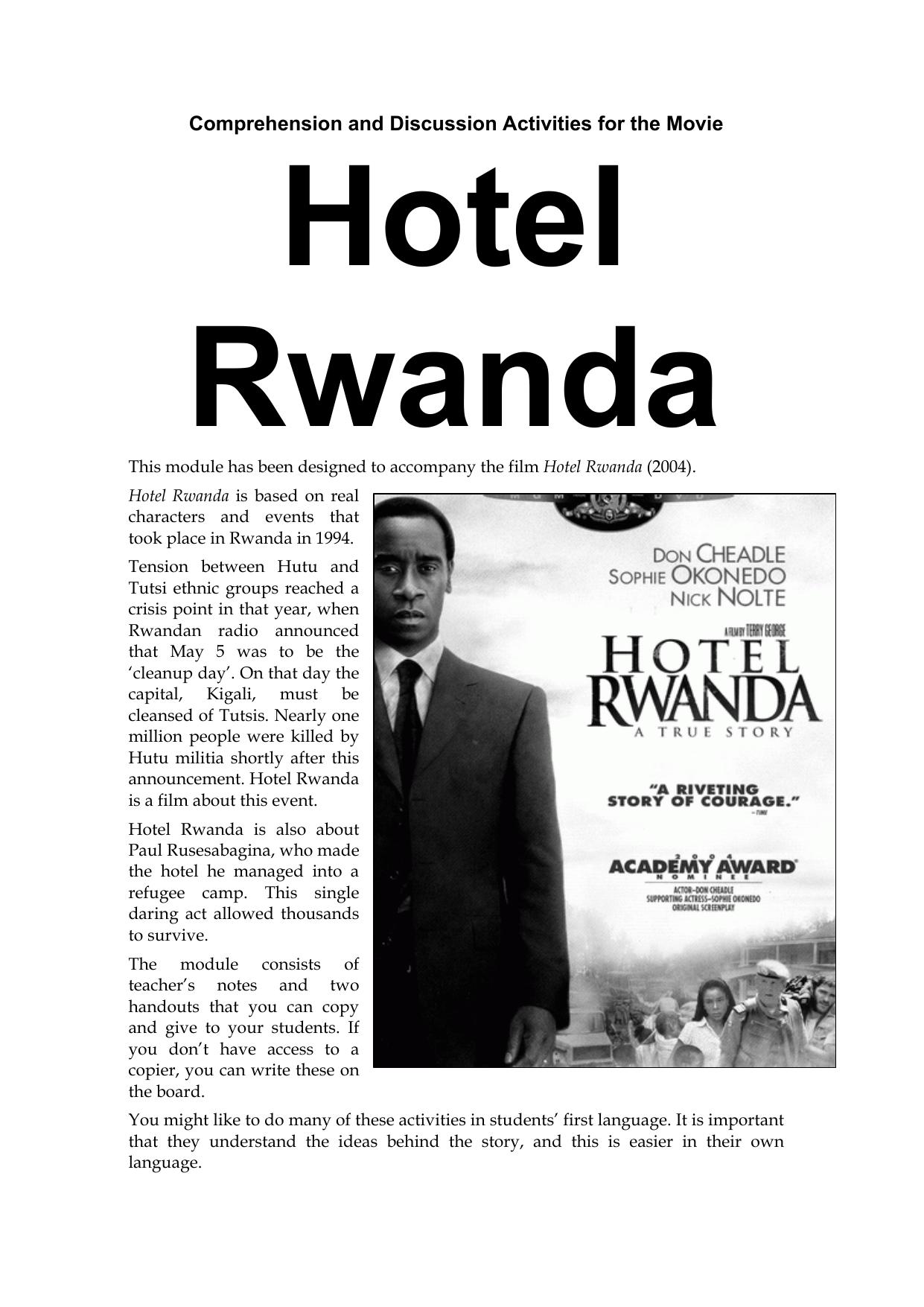 {Hotel Rwanda The Curriculum Project – Hotel Rwanda Worksheet