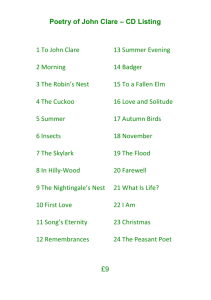 Poetry of John Clare – CD Listing 1 To John Clare 13 Summer