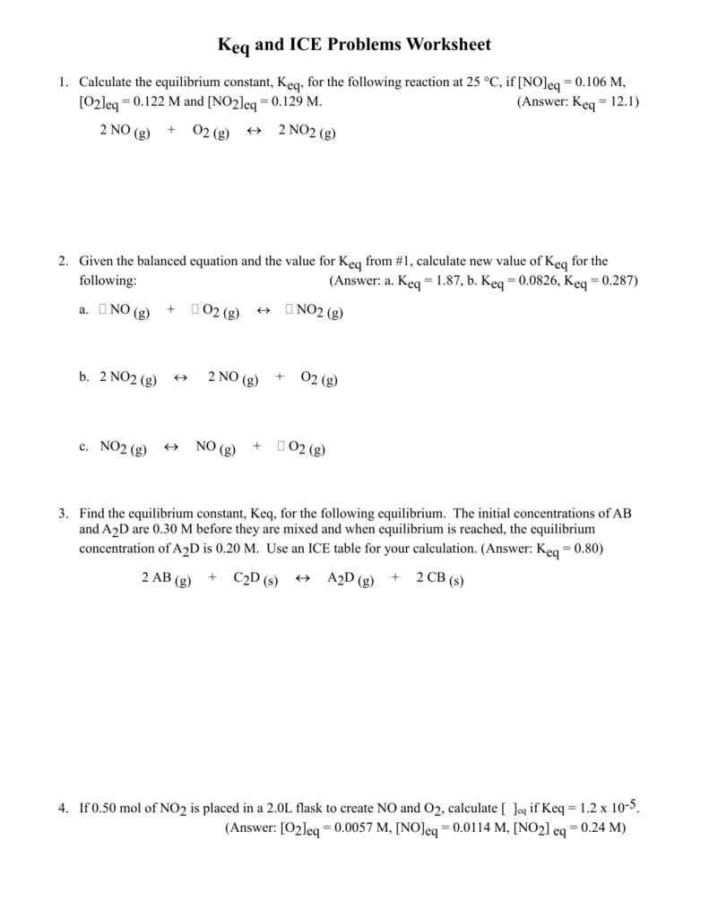 CHEMISTRY 12 WORKSHEET Keq Level 3 Questions – Equilibrium Worksheet