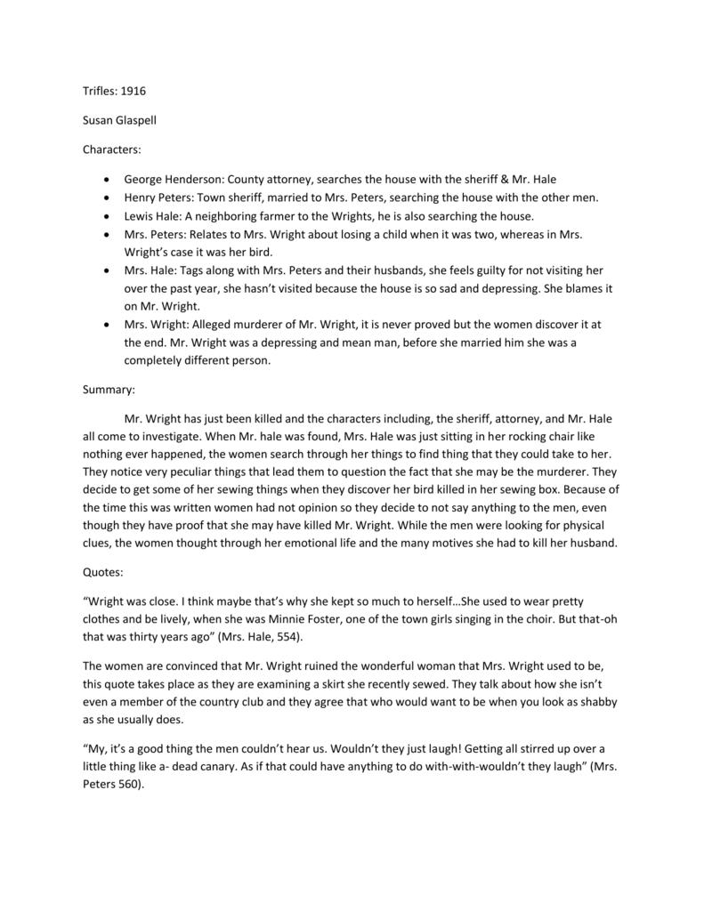 Trifles Essay | Bartleby
