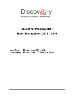 (RFP) Event Management 2015 – 2016