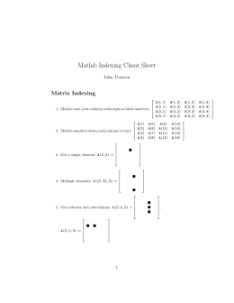Matlab Indexing Cheat Sheet