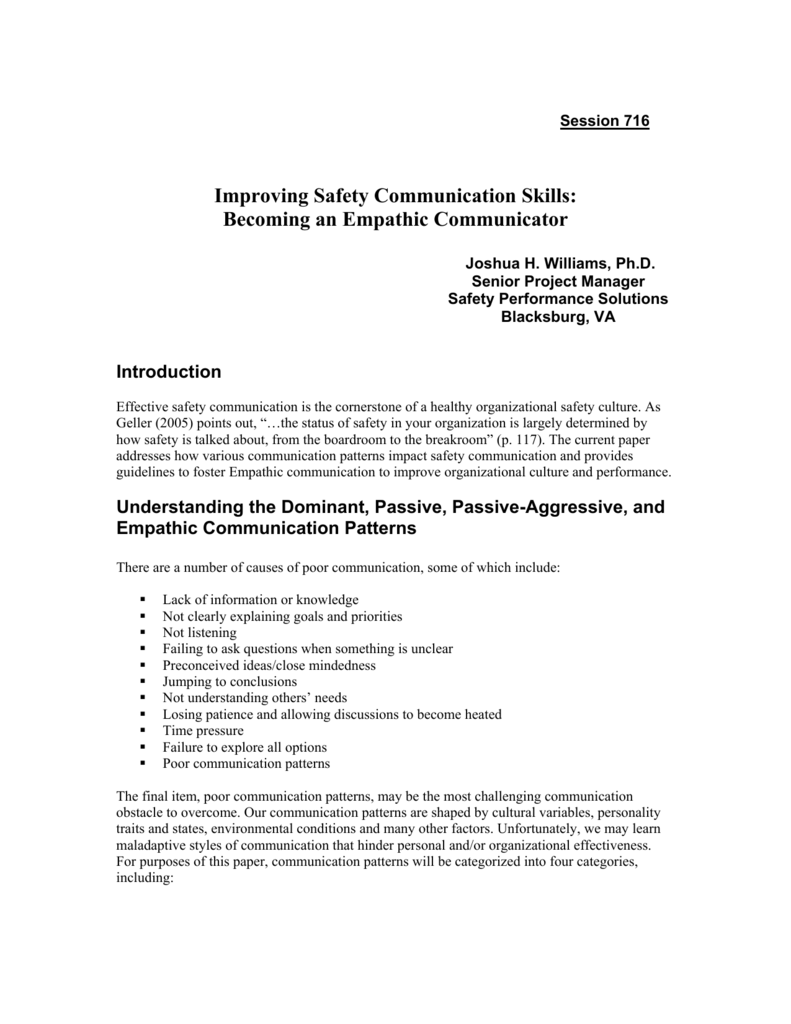 Improving Safety Communication with Behavior