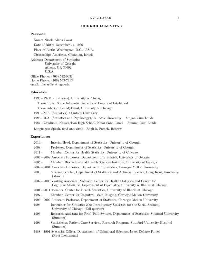 statistician resume sample