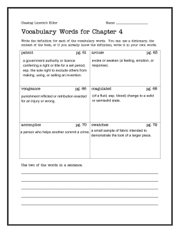 Vocabulary Words for Chapter 4