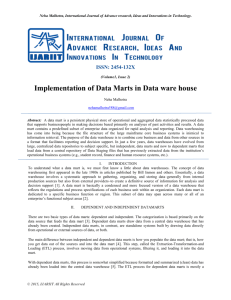 Implementation of Data Marts in Data ware house