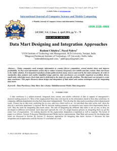 Design and integration of Data Marts