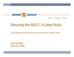 Securing the SDLC: A Case Study