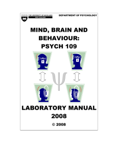 MIND, BRAIN AND BEHAVIOUR: PSYCH 109 LABORATORY