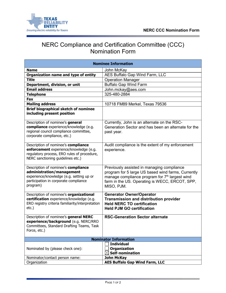 Nerc Compliance And Certification Committee Ccc Nomination