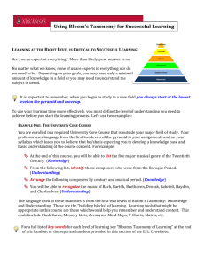 Using Bloom's Taxonomy for Successful Learning