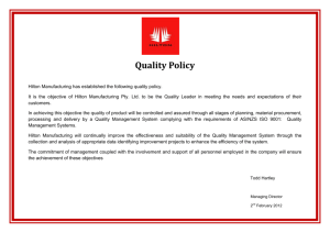 Quality Policy - Hilton Manufacturing