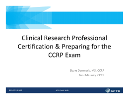 Clinical Research Professional Certification & Preparing for the