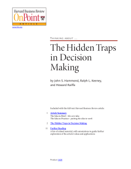 Thinking about the hidden traps in decision making