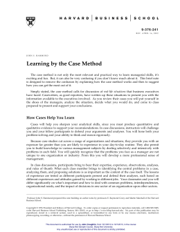 Learning by the Case Method