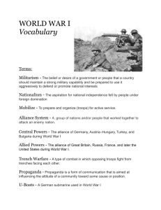 WORLD WAR I Vocabulary