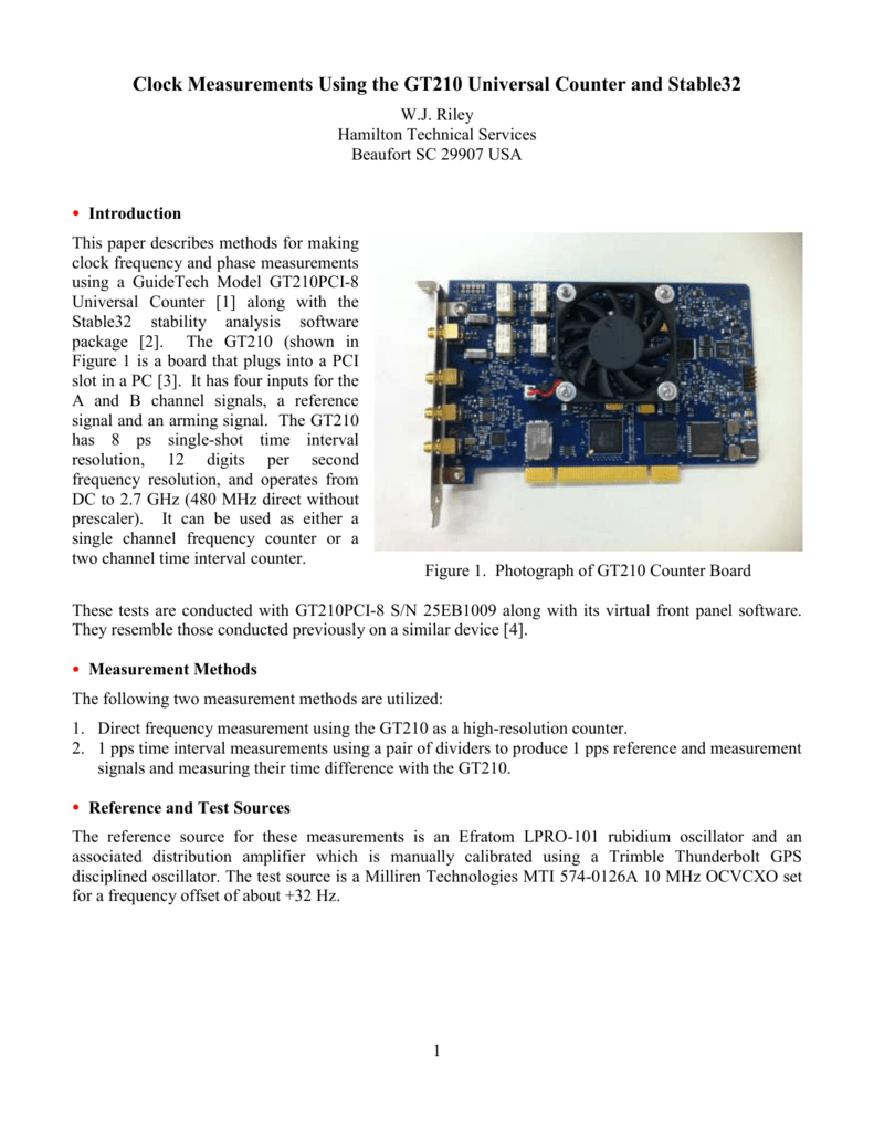 Clock Measurements Using the GT210 Universal Counter and