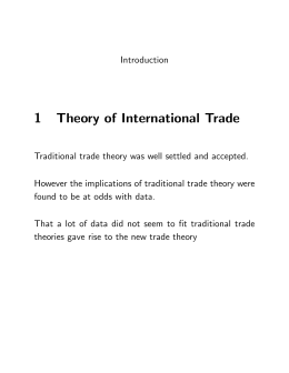 1 Theory of International Trade