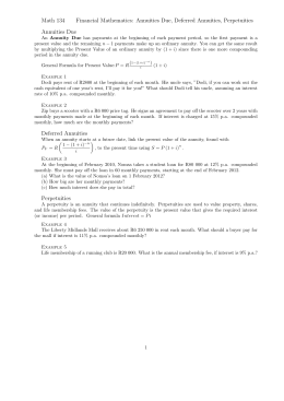Math 134 Financial Mathematics: Annuities Due, Deferred Annuities