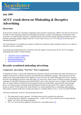 ACCC crack-down on Misleading & Deceptive Advertising