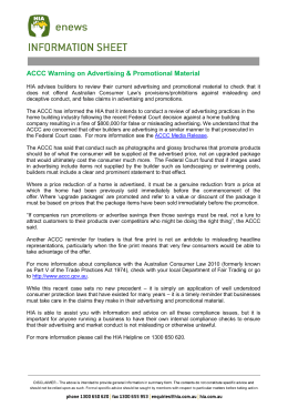 ACCC Warning on Advertising & Promotional Material