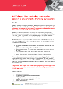 ACCC alleges false, misleading or deceptive conduct in