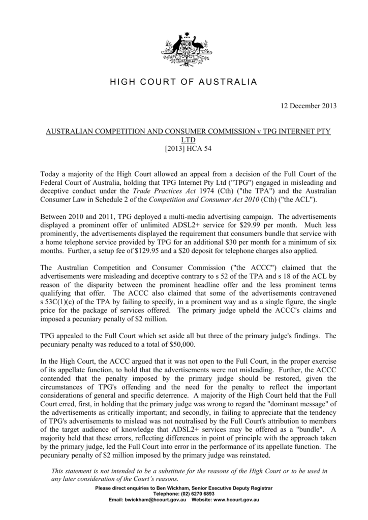 Judgment summary - High Court of Australia