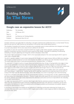 Google case an expensive lesson for ACCC