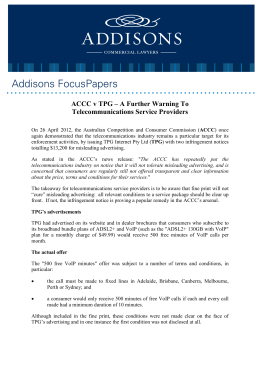 ACCC v TPG – A Further Warning To Telecommunications Service