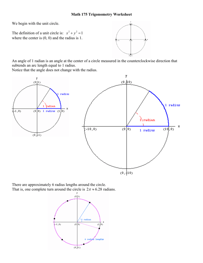 Math 175 Trigonometry Worksheet We Begin With The Unit Circle The