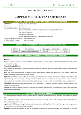 Material Safety Data Sheet Copper Ii Sulfate Anhydrous Msds