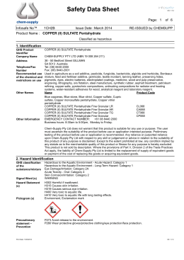 Copper Sulfate Sds Sheet Copper Sulfate Solution Msds For