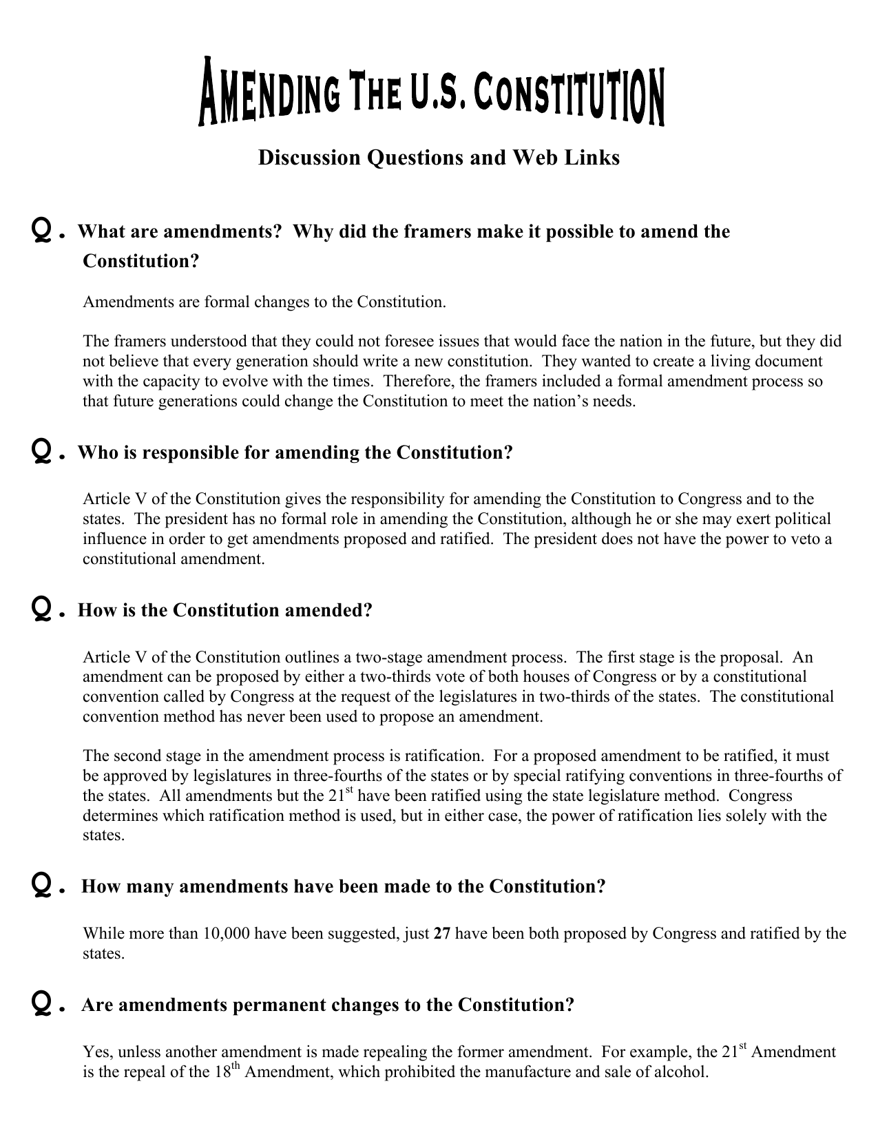 Discussion Questions and Web Links Q What are amendments?