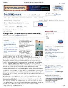 Companies take on employee stress relief