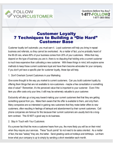 Customer Loyalty - 7 Techniques to Building a Die Hard Customer