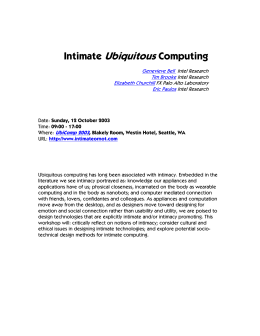 Intimate Ubiquitous Computing Genevieve Bell Intel Research Tim