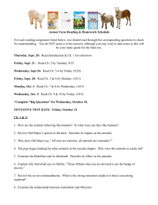 Animal Farm Reading & Homework Schedule For each reading