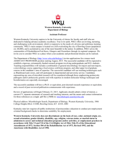 Western Kentucky University Department of Biology Assistant