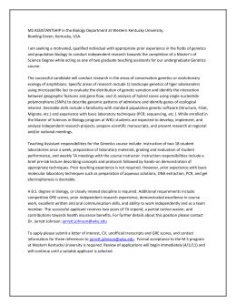MS ASSISTANTSHIP in the Biology Department at Western