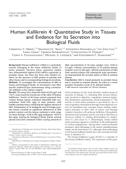 Human Kallikrein 4: Quantitative Study in Tissues and Evidence for