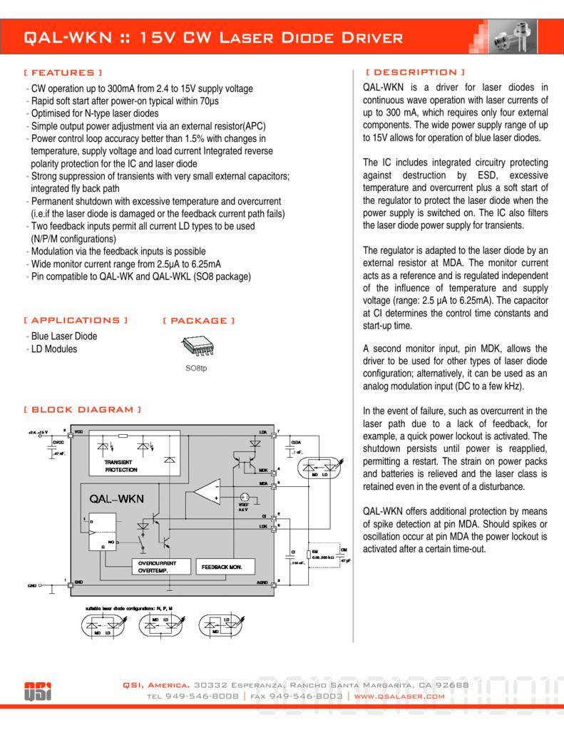 Qal Wkn 15v Cw Laser Diode Driver Diagram