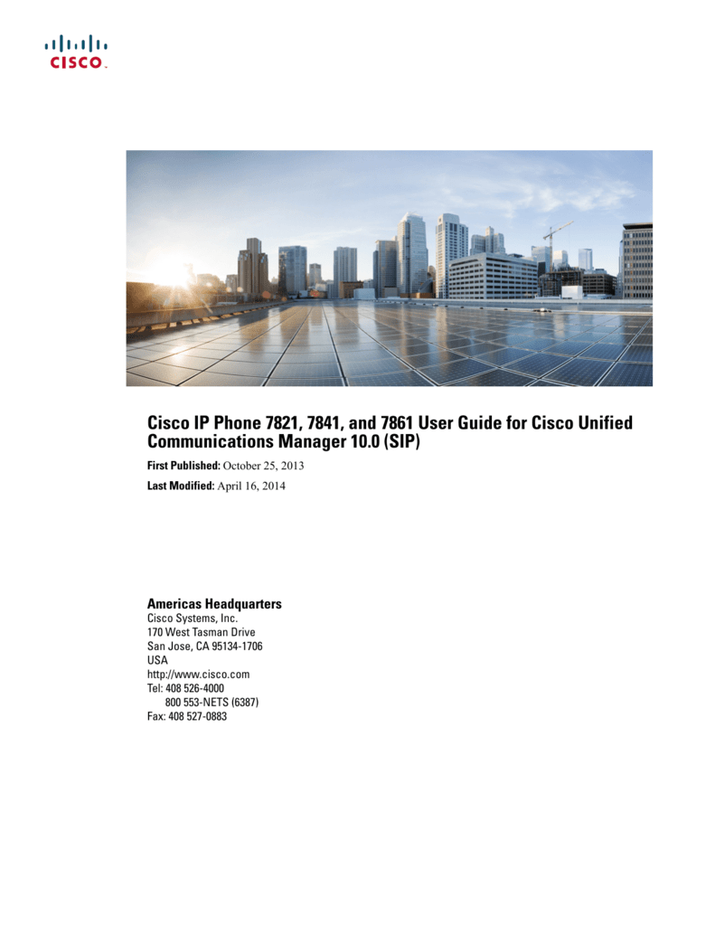 Cisco IP Phone 7821, 7841, and 7861 User Guide for Cisco Unified