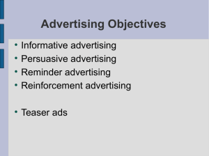 Advertising Objectives - UoM