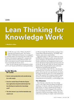 Lean Thinking for Knowledge Work