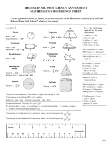 high school proficiency assessment mathematics reference sheet